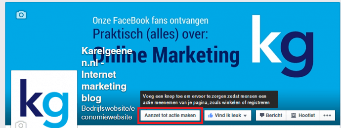Facebook actie button