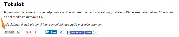 Aantal tweets artikel dating vs content marketing
