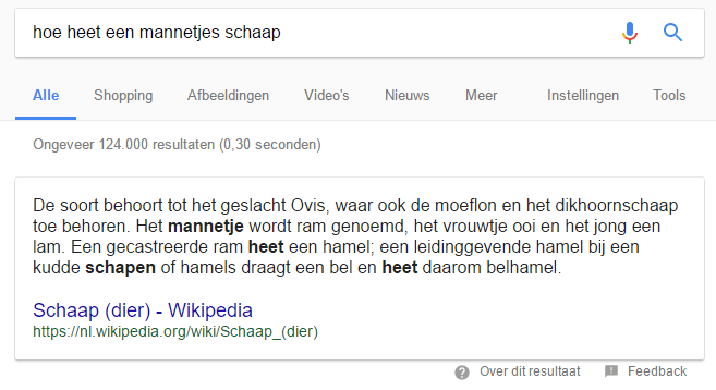 featured snippet voorbeeld 1