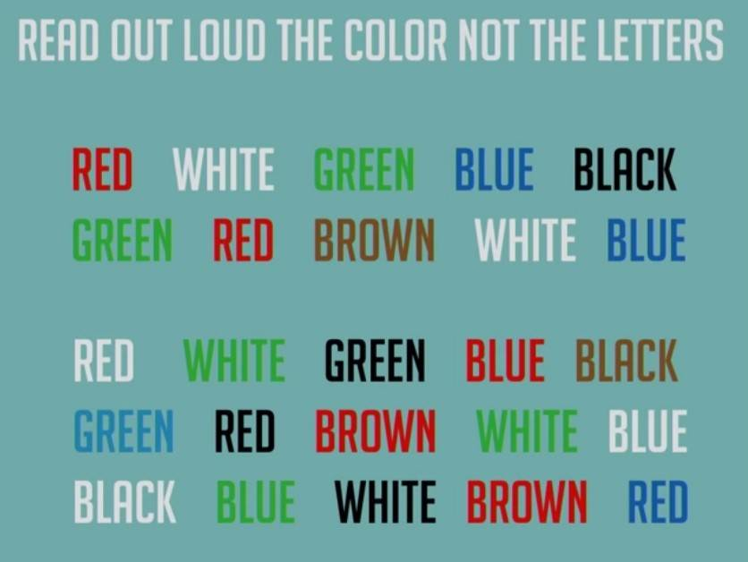 Read out loud the color, not the letters
