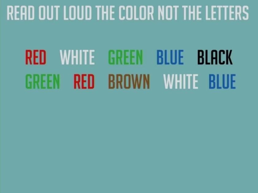 read out the colors, not the letters